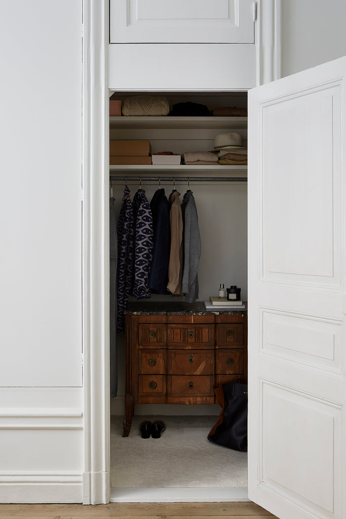 Lovely closet space in Swedish apartment