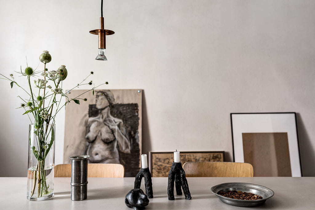 Tablescape in Swedish apartment