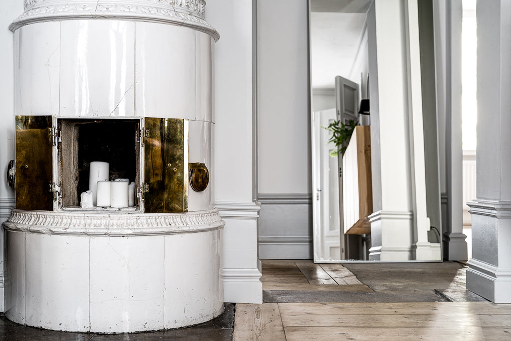 Detail of beautifully tiled stove in Stockholm apartment