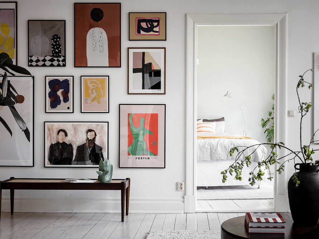 Stunning Gallery Wall in Swedish Apartment | Grøn + White