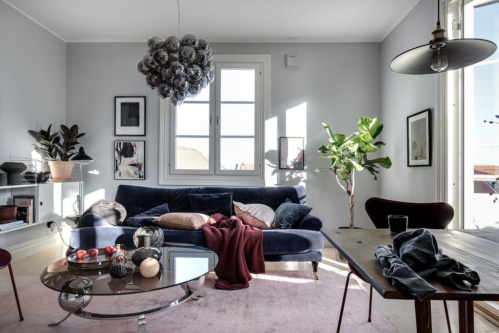 Nordic style living room with blue