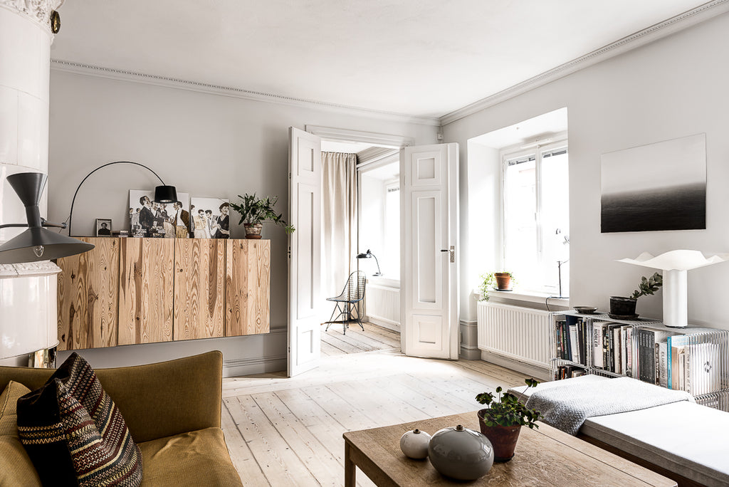 Ikea cabinets beautifully used in Stockholm apartment