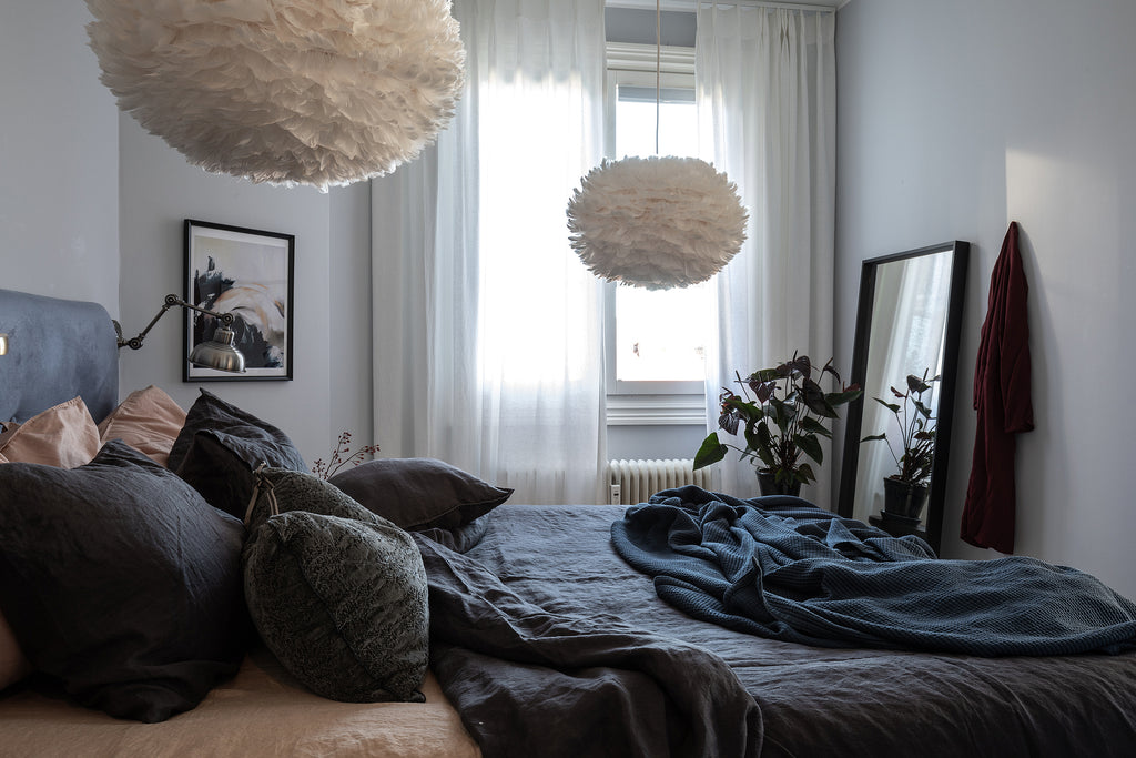 Nordic style bedroom with lovely grey and blue