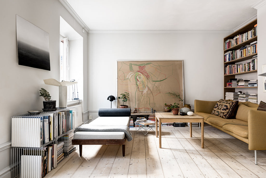 Living room in a calm Stockholm apartment