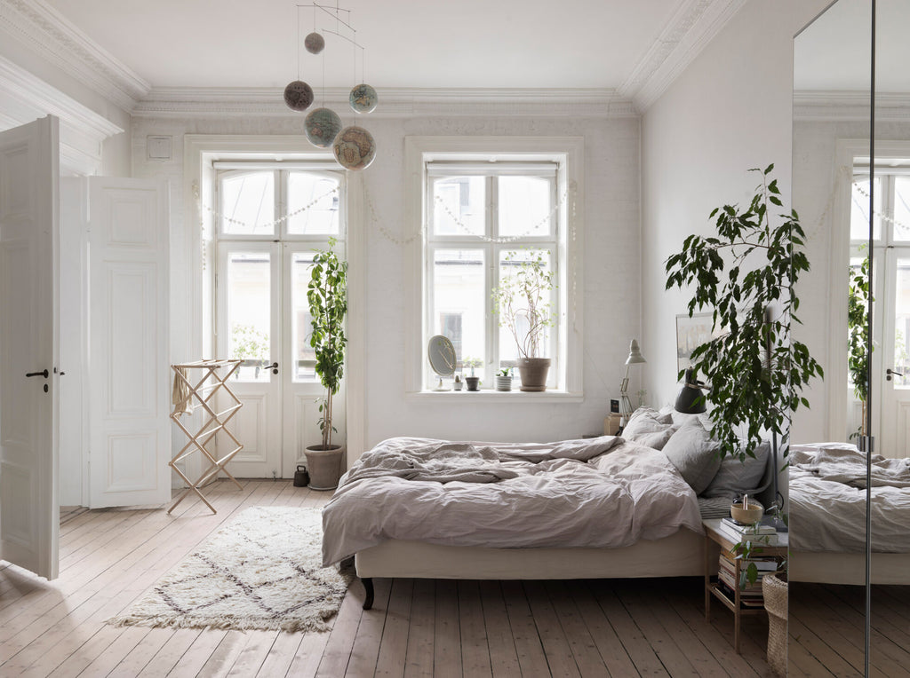 Nina Persson's Eclectic Home in Malmö- Scandinavian style bedroom