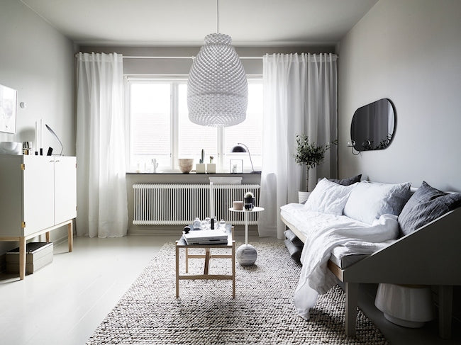 Living area of Micro Swedish Apartment