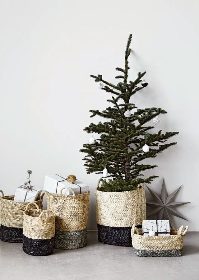 Christmas Tree in a Basket with Presents in Baskets