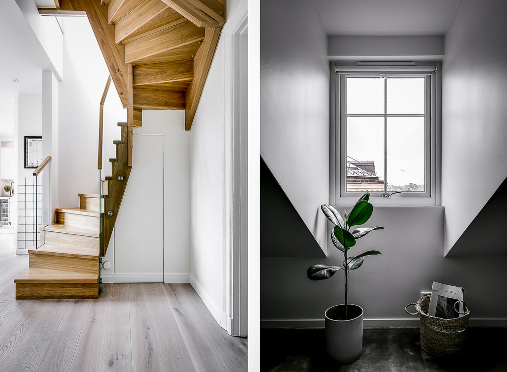 Gorgeous wooden stairs to the second floor