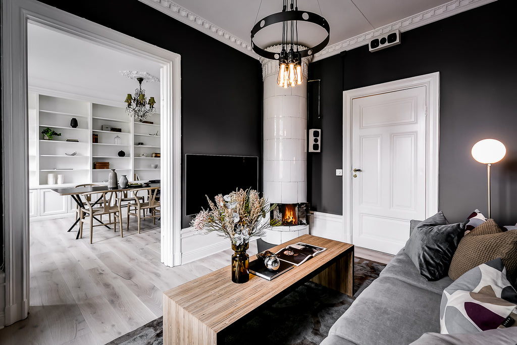 Beautiful dark grey living room in Swedish home
