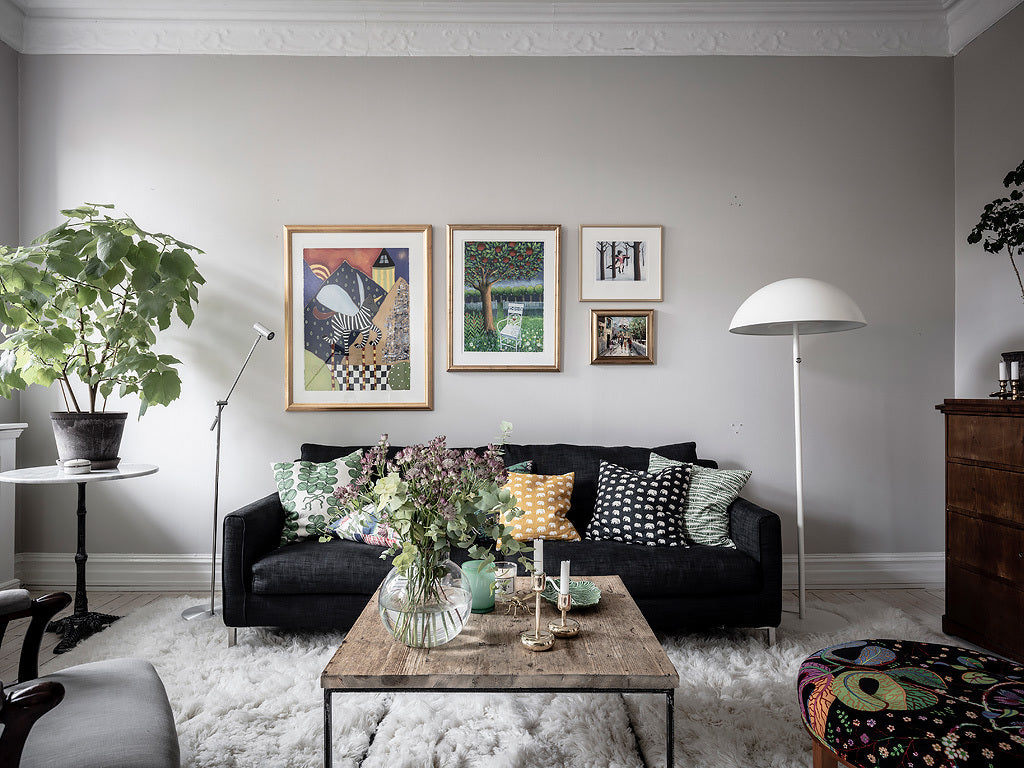 Beautiful colourful prints in Swedish home