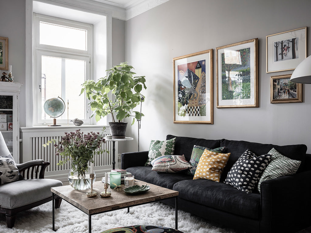 Cosy Swedish living room with personality