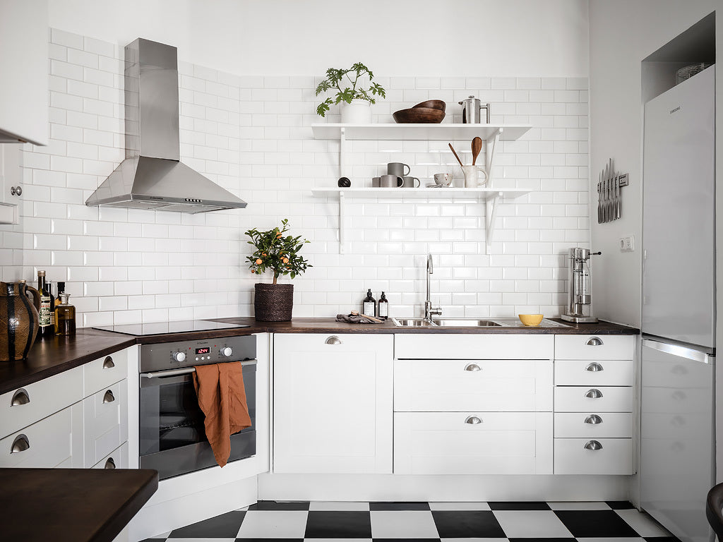 White compact kitchen in Sweden