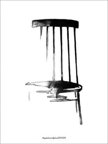 Windsor Chair |  Print - Scandinavian style | Nordic Design | Grøn + White