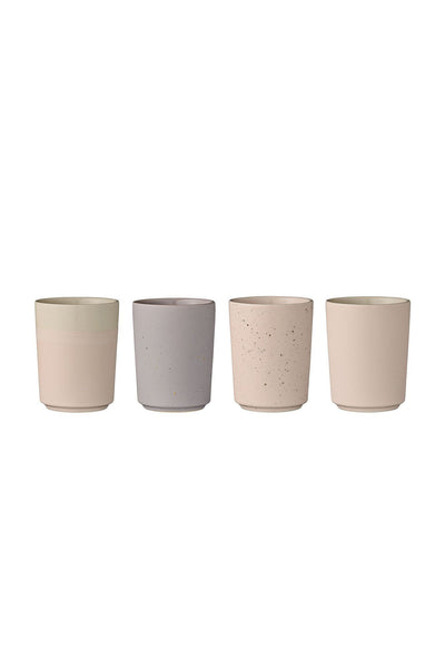 Ceramic Cups  - Pink/Lilac / Set of 4 - Grøn + White