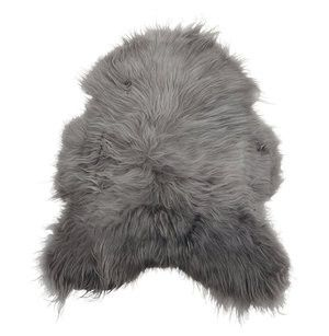 ICELANDIC ORGANIC SHEEPSKIN -Grey with Black Tips - Grøn + White