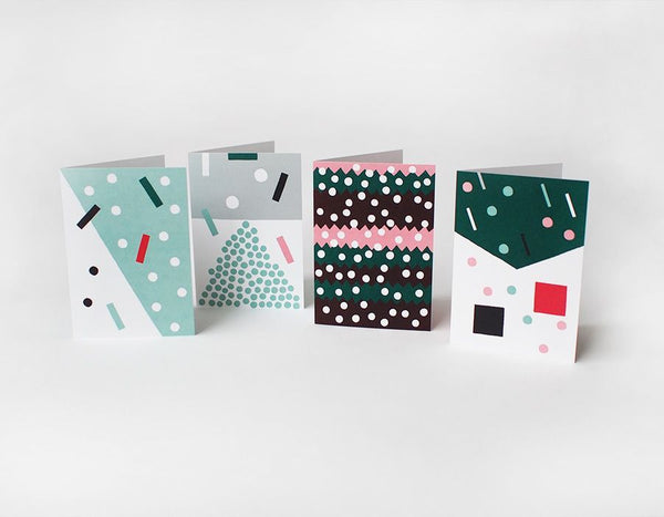 SNOWFALL Greeting Cards - Grøn + White