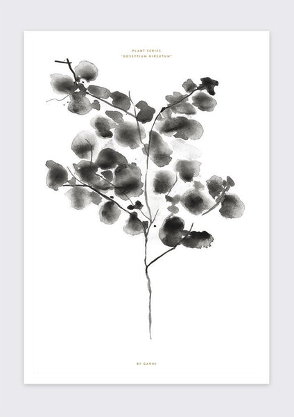 Cotton Plant Print - Grøn + White