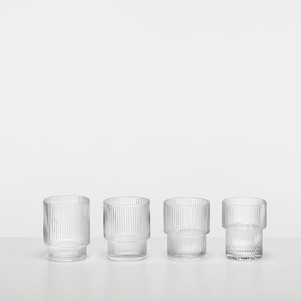 Ripple Glass (set of 4) - Scandinavian style | Nordic Design | Grøn + White