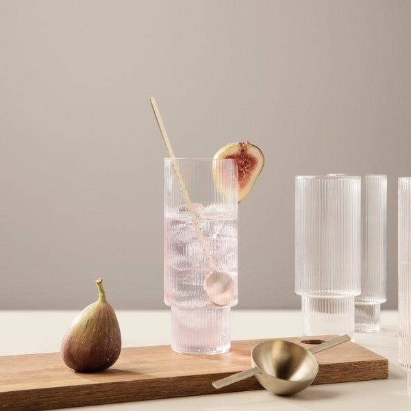 Ripple Long Glasses (set of 4) - Grøn + White