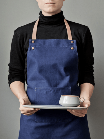 Ferm Living Apron with leather straps | blue