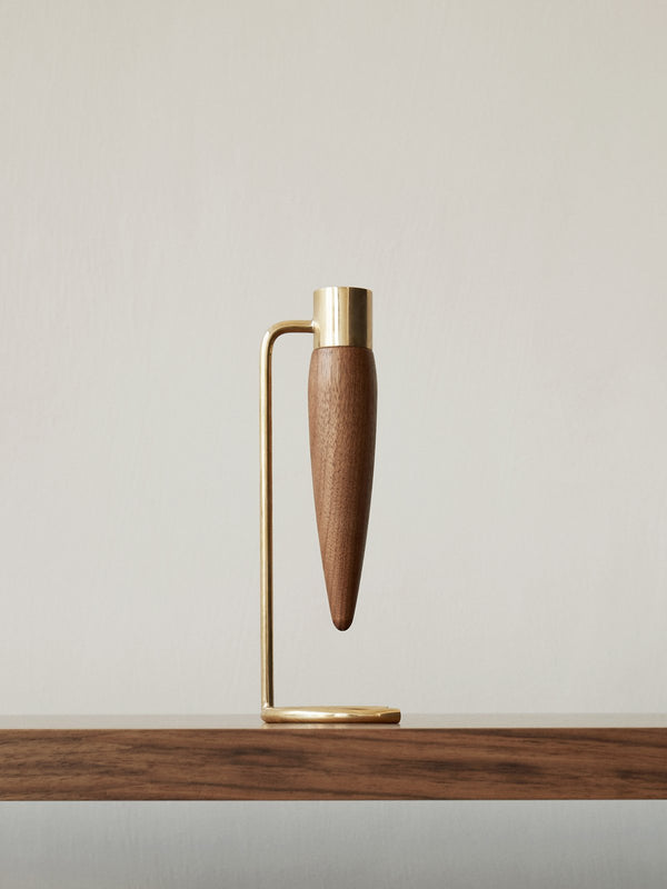Umanoff candle holder in walnut and brass | menu