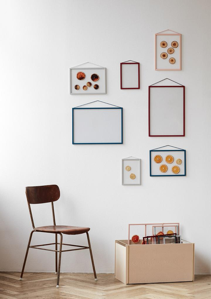 Moebe frames on wall various colours