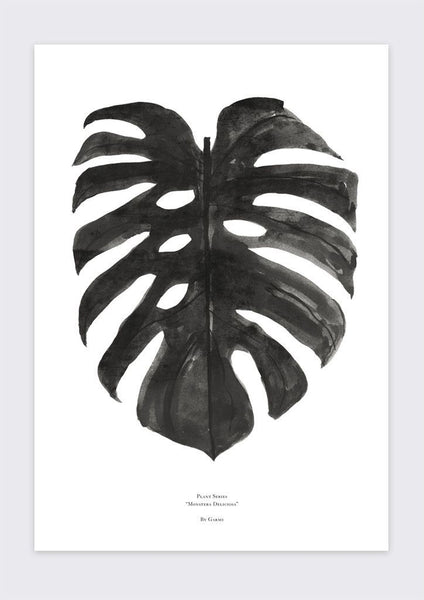 Monstera Deliciosa Print | Black and White - Grøn + White