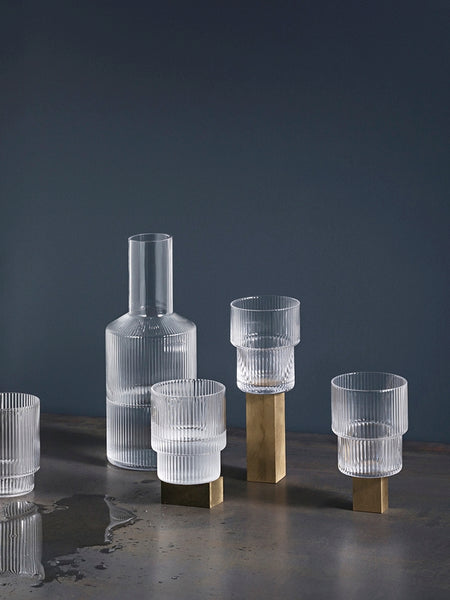 Ripple Glass (set of 4) - Grøn + White
