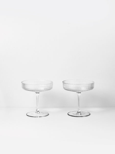 Ripple Champagne Saucer (set of 2) - Grøn + White