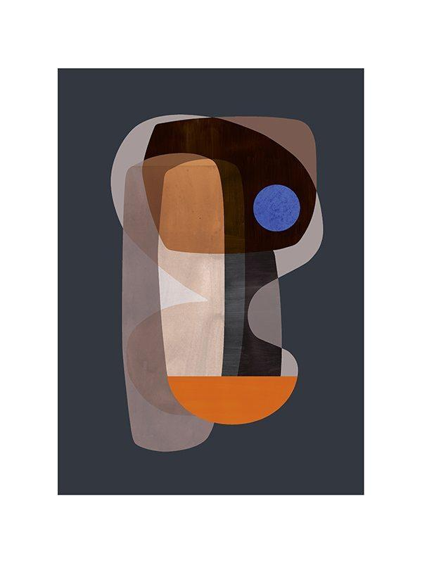 Abstract Cubism Print - Grøn + White
