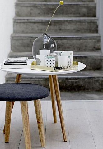 Bloomingville | Grøn + White Stool with grey seat