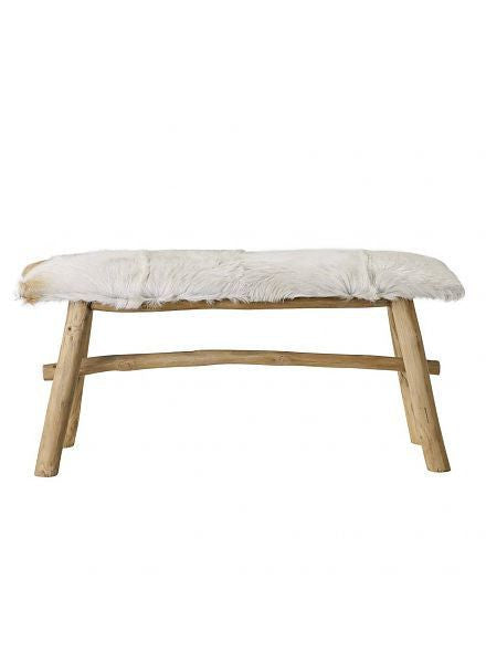 Bloomingville | Goat Fur Bench | grøn + white
