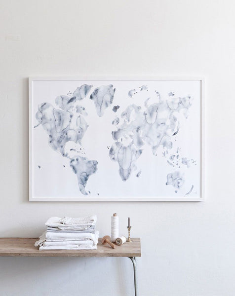 Blue World Print - Grøn + White