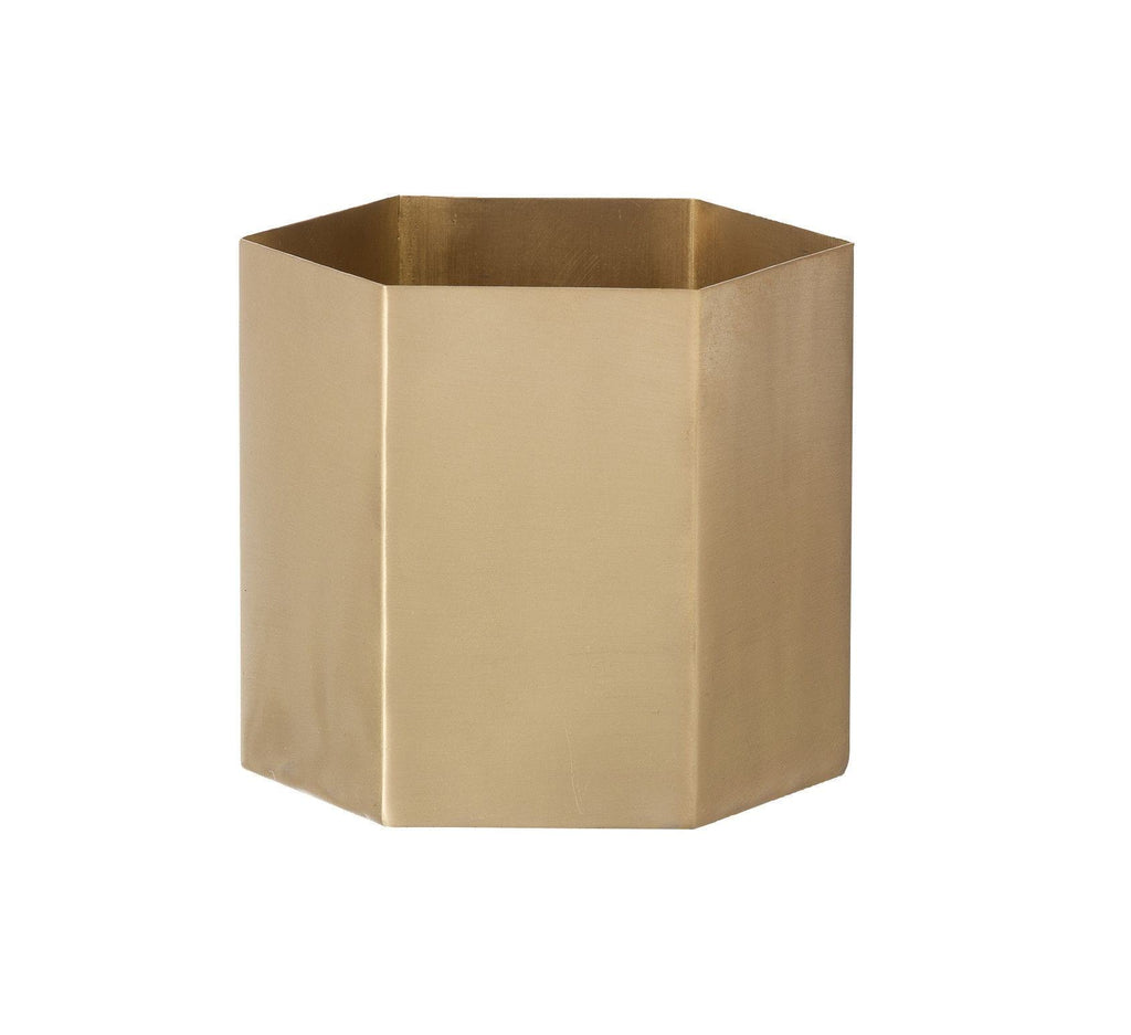 BRASS HEXAGON POT - Small - Grøn + White