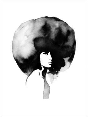 Big Hair Print - Grøn + White