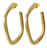 SHEILA FAJL SQUARE ELISA HOOPS IN BRUSHED GOLD