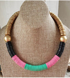 Vinyl color block necklace