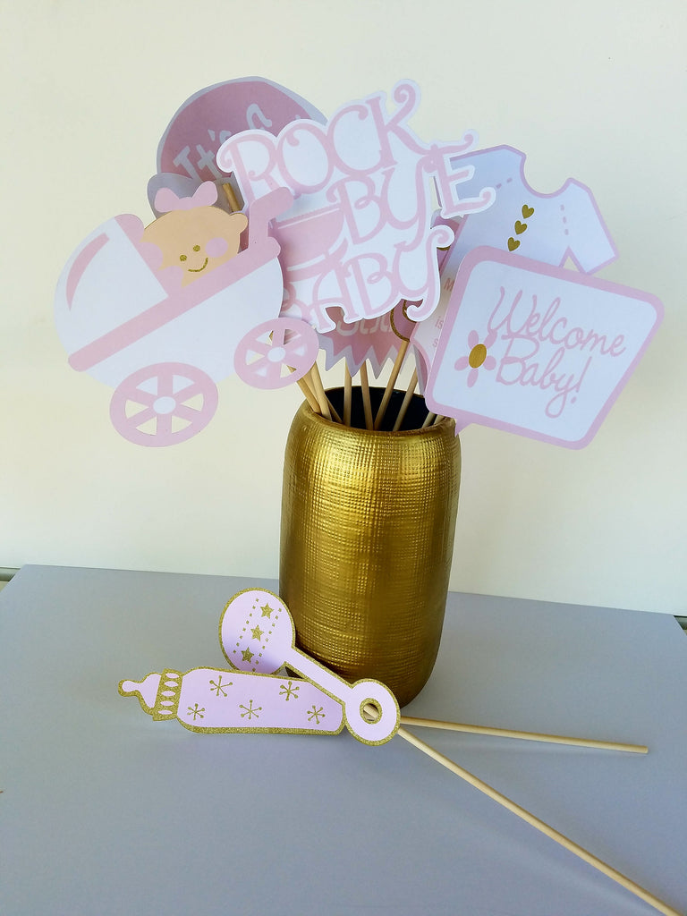 Pink and Gold Baby Shower Photo Booth Props.