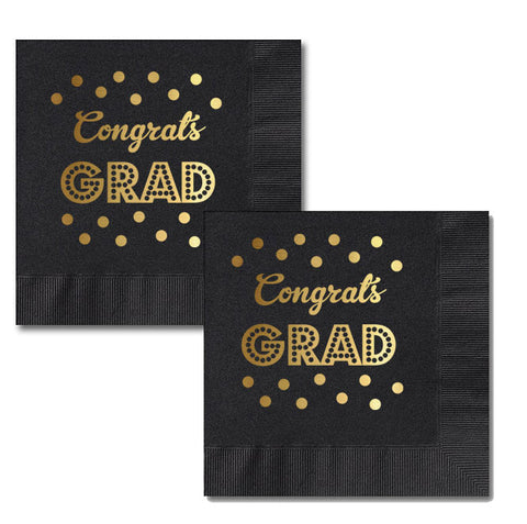 Metallic Gold & Black Graduation Napkins (set of 25)