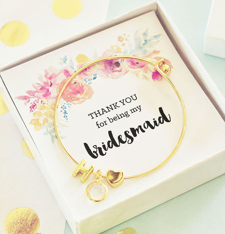 Bridesmaid Thank you Gift of Gold Monogram Bracelet - Floral Insert