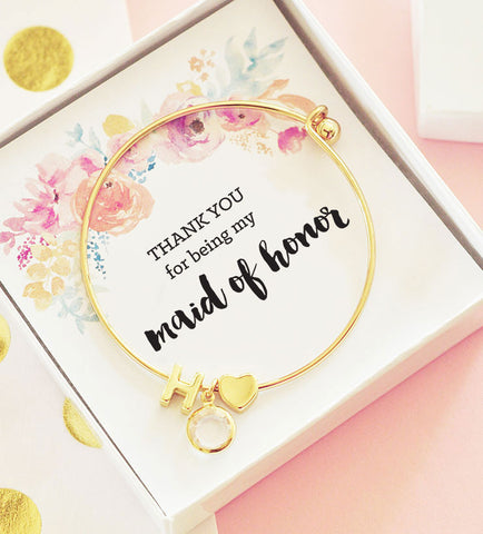 Thank you for being my Maid of Honor Gold Monogram Bracelet - Floral Insert