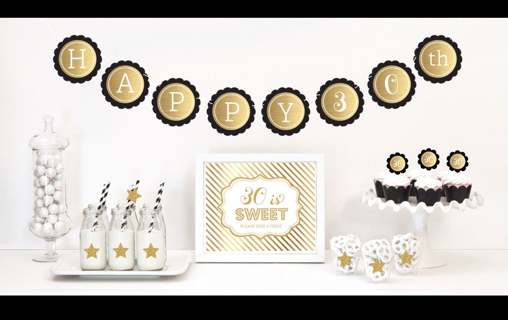 30th Gold & Glitter Birthday Decor Kit