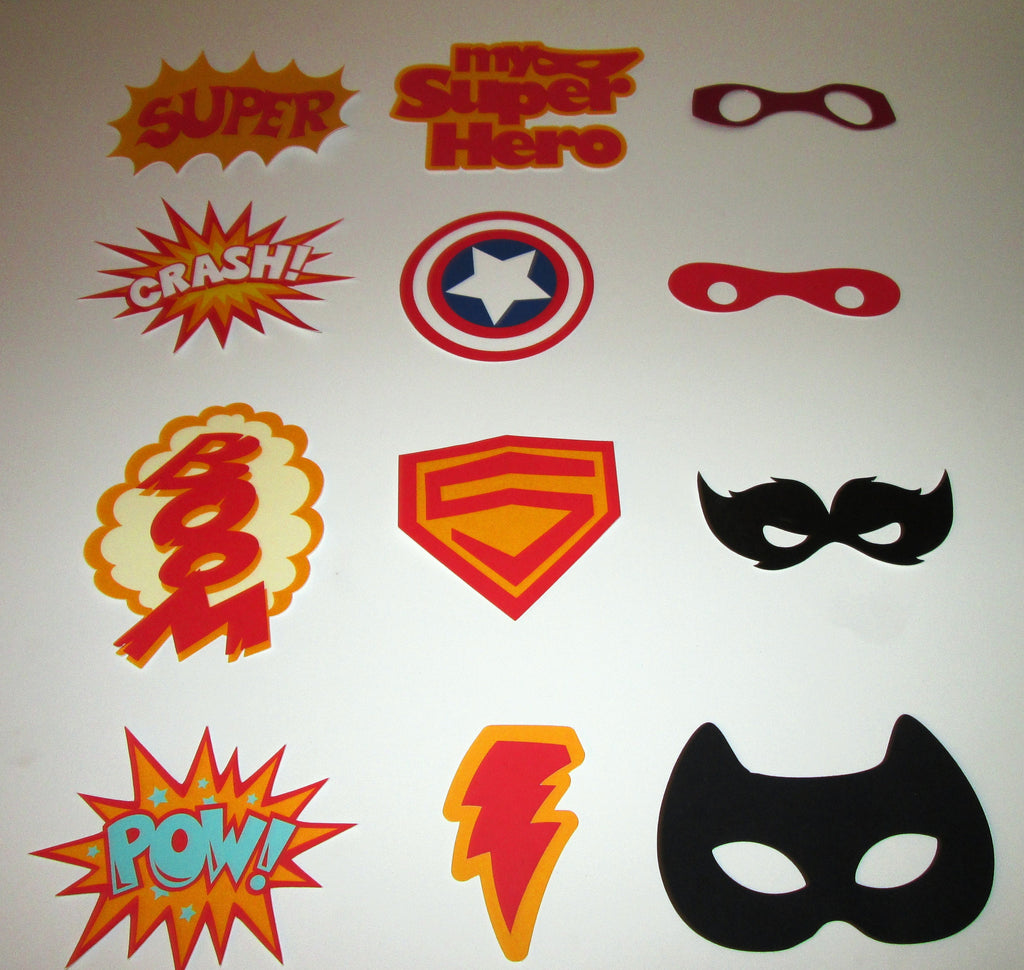 Super Hero Photo Booth Props- 12 Props