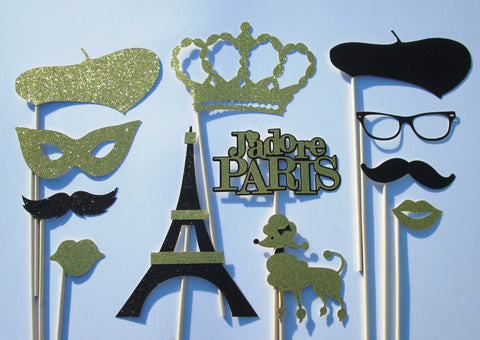 Paris Party Photo Booth Props-Black and Gold.
