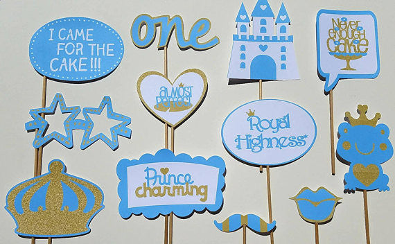 Baby Blue and Gold Prince Photo Booth Props- Great for Baby Shower and First Birthdays.