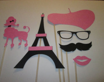 6 Pc Paris Party Photo Booth Props-with Glitter Paper, Great for Mustache Party, Bridal Shower, Wedding Shower, Baby Shower, Parisian Party