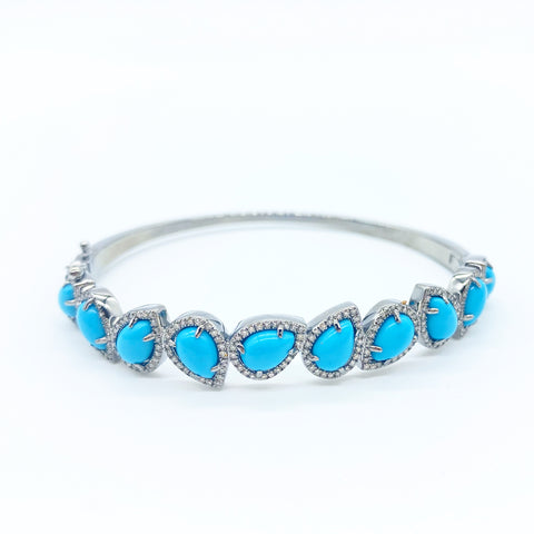 TURQUOISE LOTUS PETAL BANGLE WITH WHITE DIAMONDS