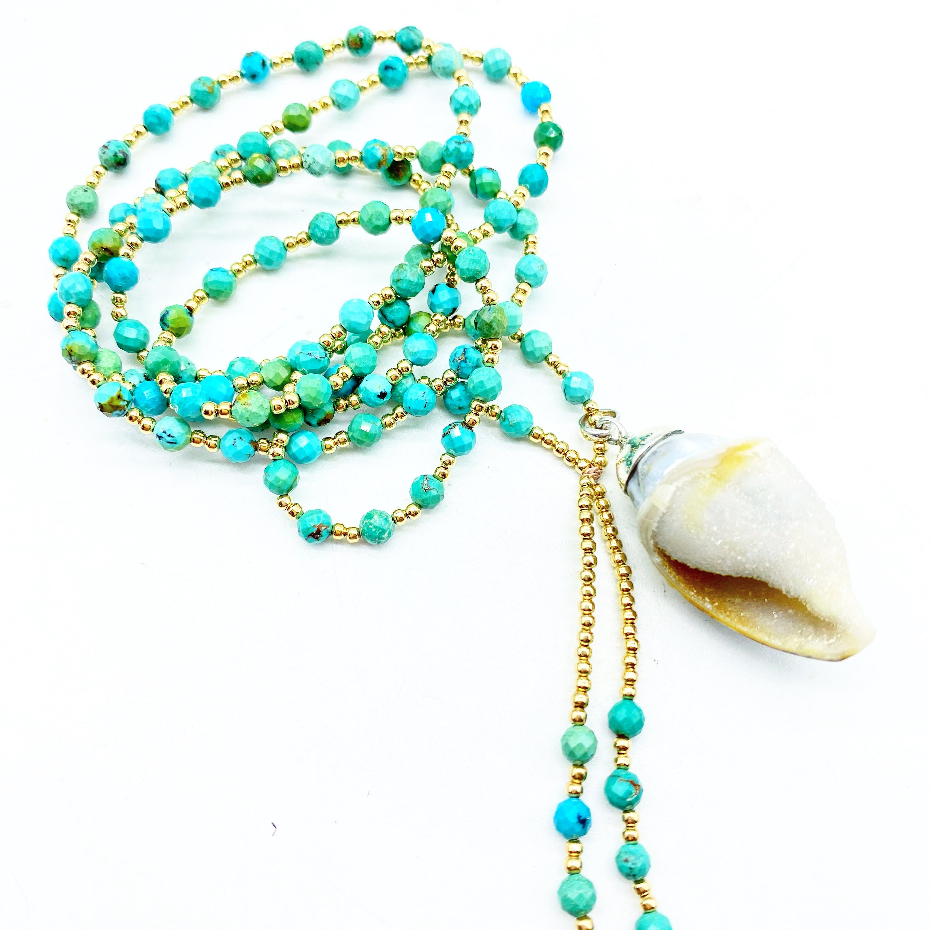 GEMSTONE MALAS WITH CRYSTAL SHELLS