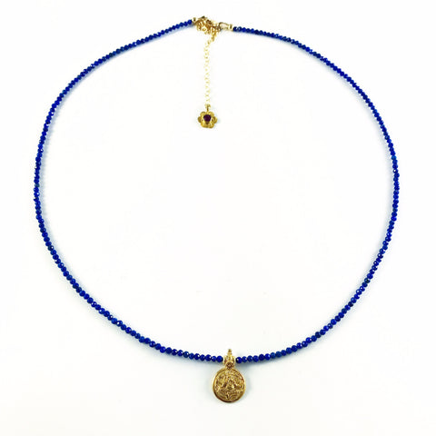 6th Chakra, Intuition, Lapis with Gold Fill Ganesh
