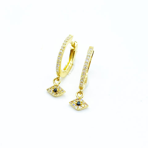 DIAMOND EVIL EYE BABY HOOPS